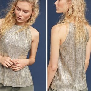 Anthropologie Maeve silver gold metallic tank top